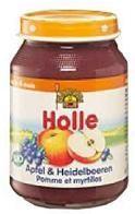 Holle Bio gyümölcsös bébiétel, alma-fekete áfonya bébiétel, gluténmentes 190 g