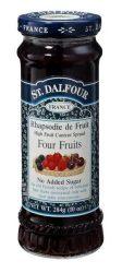 St. Dalfour lekvár francia recept szerint, 4 gyümölcs (málna, eper, szeder, meggy) 284 g