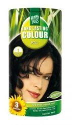 HennaPlus női tartós hajfesték, fekete árnyalat, fekete (1) (Long Lasting Colour, Black)