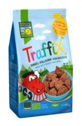 Bohlsener Mühle Bio keksz, tönkölykeksz gyerekeknek, traffix, autós figurás csokis tönköly keksz 150 g