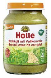 Holle Bio Brokkoli teljes rizzsel - üveges bébiétel 190 g