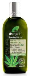 Dr. Organic Bio Kendermagolaj Sampon és hajkondícionáló 2 az 1-ben Bioaktív kendermagolajjal 265 ml