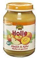 Holle Bio gyümölcsös bébiétel, őszibarack almával bébiétel, gluténmentes 190 g