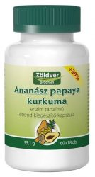 Zöldvér Ananász Papaya Kurkuma Kapszula 60+18 db