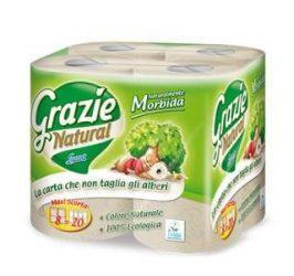 Grazie Natural öko toalett papír, WC papír, 8 tekercs, 2 rétegű