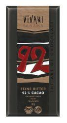 Vivani Bio csokoládé, étcsokoládé, 92% kakaótartalommal, kókusz virág cukorral 80 g