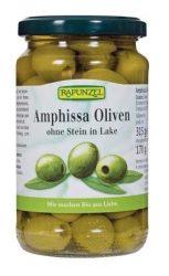 Rapunzel Bio előételek, olajbogyó, Amphissa olajbogyó lében, zöld oliva,  magozott 315 g